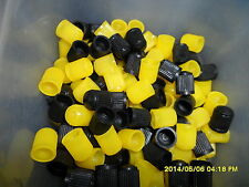 12 Valve Dust Caps Black & Yellow Plastic for Car,Tube & Cycles+ Get 1 Pack FREE