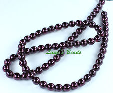 75 Plum  CZECH Glass Pearl Coated Beads Round 6mm