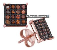 red cocoa brown diamond .10 carat 10K rose gold square stud earrings screwback