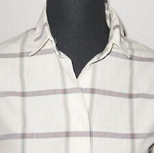 "Panther Tan Plaid Check Button Front Long Sleeve 40"" Bust Shirt Blouse"
