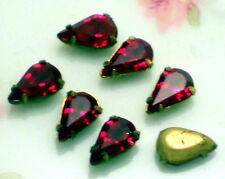 #276 Vintage Rhinestones Ruby Red Pear Shape 8mm Setting Pronged NOS OLD