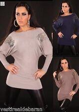 Miniabito Maglia Donna Long Pullover Misto Cashmere Vestitino ISF R018-A765  **