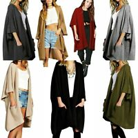 Ladies Oversize Baggy Ribbed Knitted Pocket Long Cape Cardigan Loose Size 8-22