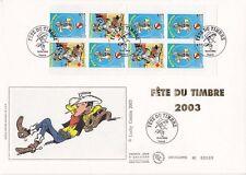 Enveloppe grand format 1er jour 2003 Fête du timbre Lucky Luke carnet