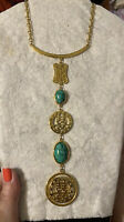 Vtg Asian Inspired Gold & Faux Jade Necklace