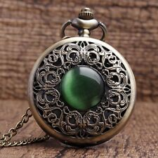 Fashion Vintage Emerald Stone Pocket Watch Green Necklace Gothic Woman Jewelry