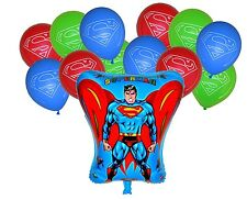 SUPERMAN SUPERHERO shape & 12 latex balloons  BOYS BIRTHDAY PARTY DECORATION