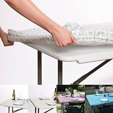 Waterproof Elastic Edged Flannel Backed Plastic Fitted Table Cloth for and 6 ft.