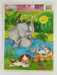 NIP Vintage Little Golden Book Land Jolly Jungle Frame Tray Puzzle 1989 Sealed