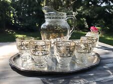 Vintage Krug Glaskrug Kanne Karaffe 5 Becher Glas Goldrand So schön! Pressglas