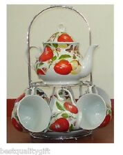 NEW 13 PC SET PORCELAIN RED APPLE TEA,COFFEE POT,TEAPOT+MUG,CUP+SAUCER,PLATE-04