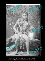 OLD POSTCARD SIZE PHOTO OF SHOSHONI INDIAN WARRIOR GORASIMP c1890