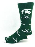 Michigan State Spartans For Bare Feet Green Hockey Logo Crew Socks