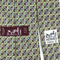 Hermes Men's Tie 100% Silk Green Red Plaid Luxury Necktie 7711 OA Made In France