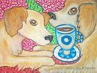 GOLDEN RETRIEVER Drinking Coffee Dog Pop Folk Vintage Art 8 x 10 Signed Print