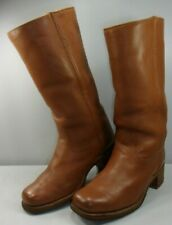 Frye Men's Calf High Campus Boots Saddle Leather Brown USA EUC! Size 9 D