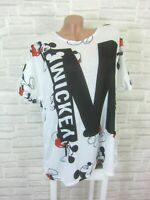 NEU Blogger T-Shirt Tunika Shirt mit Print 42 44 46 Weiß P336 ITALY Damen