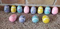 1987 Lillian Vernon Hand Painted Wood Easter Eggs Set 12 Original Box