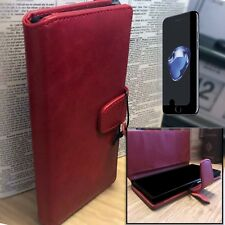 iPhone 8 Real Leather Wallet RED  Folio Book Case Inc Glass Screen Protector