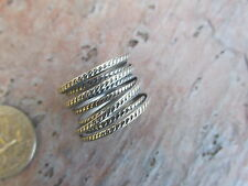 Sterling Silver Rope & Smooth 7 Row Wide Cigar Band Ring NEW Size 8 Artistic