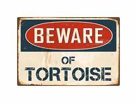 """Beware of Tortoise 8"""" x 12"""" Vintage Aluminum Retro Metal Sign"""