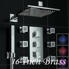 """Thermostatic Large 16"""" Rain LED Shower Head 6 Massage Body Jets With Hand Shower"""