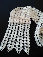 Vintage crochet table Runner Ivory Hand crocheted Dresser Scarf Wedding rustic