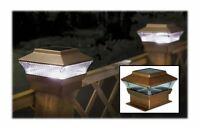 2 Bronze LED Outdoor Garden Post Solar Powered Deck Cap Square Fence Patio Light