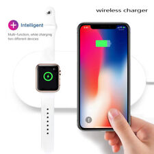 2 in 1 Qi Wireless Charger Pad Charging Station For Apple Watch iPhone Samsung .