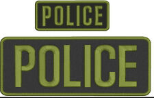Police embroidery patch 4X10 and 2x5 hook ON BACK od green
