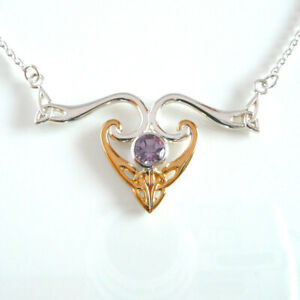 "Peter Stone Amethyst & Sterling Silver 925  Modern Celtic Triskele Necklace 18"""