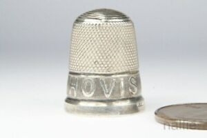 ANTIQUE EDWARDIAN ENGLISH SILVER HOVIS BREAD ADVERTISING SEWING THIMBLE c1913