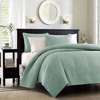 NIP Madison Park Mansfield Seafoam Queen Quilted Coverlet & Shams Set 3pc
