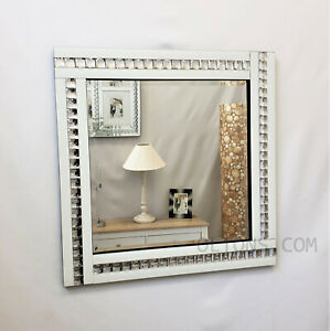 Modern Art Deco Acrylic Crystal Glass Design Square Beveled Mirror 60x60cm White