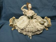 Vintage antique Fashion Lady Powder Jar,Lg,Bisque,Half Doll,Victorian,Jewelry