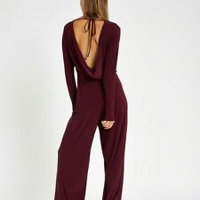Burgundy Wide Leg Jumpsuit with Low Cowl Back | River Island | Size 12 | BNWOT