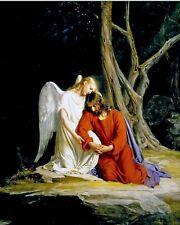 Angel Comforting Jesus In Gethesmane Painting Bible Christian Canvas Art Print