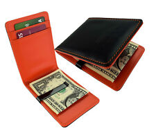 Solid Black & Orange Mens Money Clip Wallet  Faux Leather Cash Card Holder