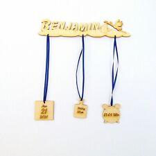 Geschenk zur Geburt, Storch mit Wunschname aus Holz 26 cm lang Holz Storch