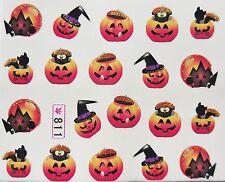 """Halloween GLITTER NAIL ART ADESIVO ORO / NERO """"ZUCCA & CATS"""" Acqua Decalcomania 811"""