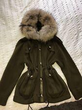 Burberry Brit Fur Trim Hooded Cardigan in Natural Khaki Green Military XS Racoon