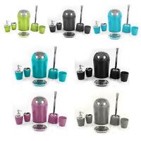 6pc Bathroom Accessories Set Lotion Dispenser Soap Dish Holder Tumbler Bin Grey
