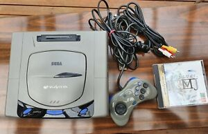 Sega Saturn Grey Console HST-3210 Japan NTSC-J with Controller and Game