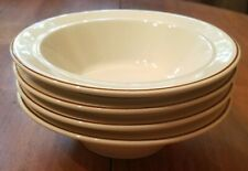 Vintage Set of 4 Stoneware Cereal / Ice Cream Bowls Cream with Brown Rim / Band2