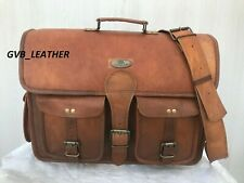 "18"" Brown Leather Messenger Distressed Satchel Briefcase Notebook Laptop Bag"