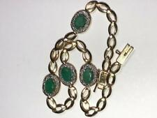 Columbian Emeralds Diamonds 14K Yellow Gold Bracelet