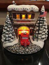 Thomas Kinkade Festive Fire Station Village Teleflora 2019