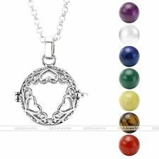 Silvery Love Heart 7 Chakra Gemstone Ball Beads Locket Cage Pendant Necklace Set