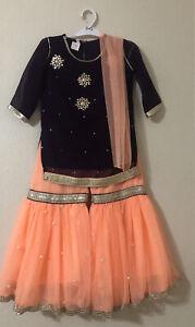 Indian pakistani Baby Toddler kids Outfit Gharara Lehenga Bollywood Eid Dress 2t