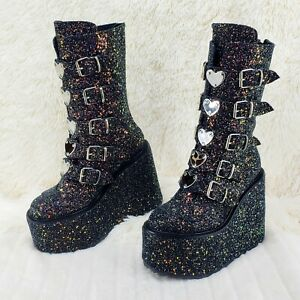 "Swing 230G Black Glitter Boot 5.5"" Platform Heart Strap Design Goth Size 12"